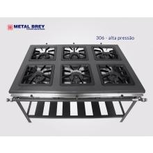 Fogão 06 bocas Alta pressão Linha Extra Metal Brey